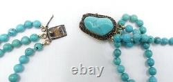 Vintage Chinese gold over sterling silver filigree clasp & 3 string turquoise be
