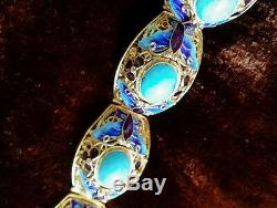Vintage Chinese silver gold plated enamel bracelet with turquoise inlaid
