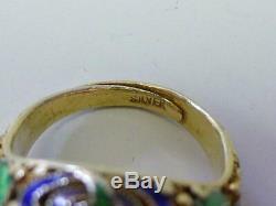 Vintage Estate Chinese Carved Malachite Flower Enamel Gold Gilt Silver Ring Sz 7