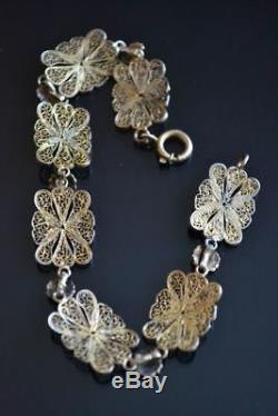 Vintage Exquisite Chinese Filigree Silver Cloisonné Flower Gold Wash Bracelet