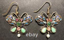 Vintage Gilt Silver Enamel & Jade Filigree Butterfly Chinese E/R's