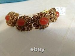 Vintage Gold Gilt Silver Chinese Panel Bracelet with Red Coral