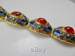Vintage Gold Over Silver Enamel Filigree Bracelet Carnelian Chinese Antique