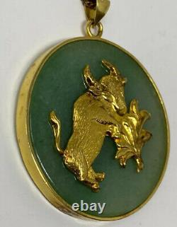 Vintage Gold Over Sterling Silver 925 Gilt Green Jade Chinese Bull Oxen Pendant