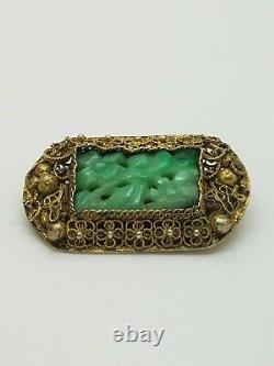 Vintage Gold Sterling Silver Carved Jade Filigree Brooch Chinese Import