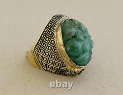 Vintage Gold Wash Sterling Silver Chinese Import Carved Green Jade Jadeite Ring