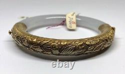 Vintage Gold Washed Silver Icy White Jadeite Jade Chinese Bangle (F)