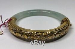 Vintage Gold Washed Silver Moss In Snow Jadeite Jade Chinese Bangle (E)