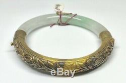 Vintage Gold Washed Silver White & Green Jadeite Jade Chinese Bangle Bracelet D