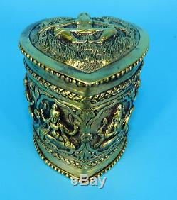 Vintage LADY BUDDHA TIBETAN Gilt SILVER ON COPPER CIGARETTE Tobacco JAR BOX