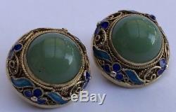 Vintage Old CHINESE Export Gilt Silver Blue Enamel Flower GREEN JADE Earrings