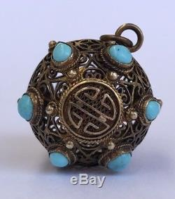 Vintage Old Chinese Gilt Silver Filigree Turquoise Symbol Ball Charm Pendant