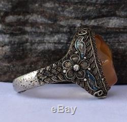 Vintage Old Chinese Gold Gilt Silver Orage Agate Filigree Flower Adjustable Ring