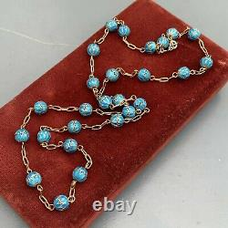 Vintage Oriental Chinese Gold gilded Silver Enamel Beaded Necklace