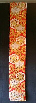 Vintage Quality Red, Silver & Gold Chinese Silk Brocade Table Runner 13 Ft NMINT