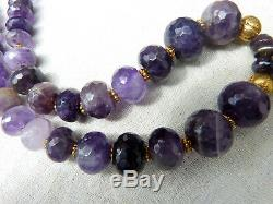 Vintage Silver Asian Foo Dog Pendant Amethyst Necklace, 22 K gold over wax beads