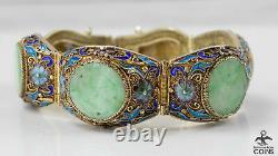 Vintage Silver Gold-Tone Chinese Enamel Jade Mesh Carved Floral Link Bracelet