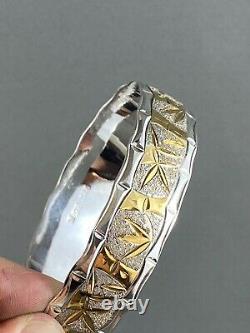 Vintage Sterling Silver Gold Bracelet Bangle Bamboo Chinese Nature Leaf Tree