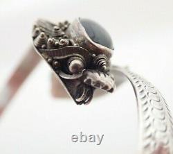 Vintage Sterling Silver & Gold Chinese Export Black Onyx Dragon Foo Dog Bracelet