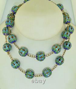 Vintage Sterling Silver Gold Gilt Chinese Export Enamel Necklace