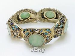 Vintage Unique Chinese Filigree Enamel Gilted Silver Carved Jade Bracelet