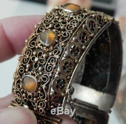 Vintage Wide Chinese Silver Gilt Filigree Link Bracelet Amber & Lucky Coins