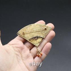 Vintage antique 1930s Chinese Export Silver gilt cloisonne Enamel fan brooch
