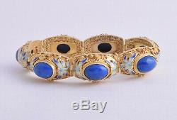 Vintage chinese sterling silver/gold plated/ Lapis Lazuli filigree Bracelet Cuff