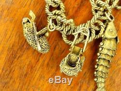 Vintage gold plated silver ORIGINAL CHINESE HANDMADE CHARM bracelet RARE