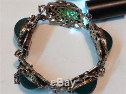Vintage silver gilt Chinese Art Deco fine Jade bracelet (m1029)