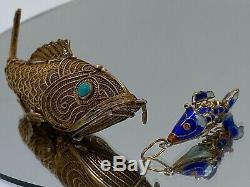 Vintage sterling silver Jade eyes Chinese fish pill box Pendant +Bonus BabyFish