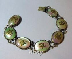 Vtg Antique CHINESE SILVER Mother of Pearl BRACELET Gold Tone Characters Asian