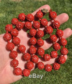 Vtg Chinese 14mm Carved Cinnabar Bead Filigree Gilt Silver Clasp Necklace 30