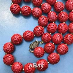 Vtg Chinese Carved Cinnabar Beaded necklace Gilt Silver Filigree Clasp