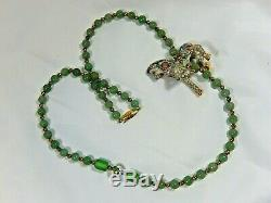 Vtg Chinese Export Jade Bead 3d Cloisonne Horse 26 Necklace W Silver Gilt Clasp