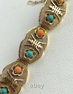 Vtg Chinese Export Silver Gold Gilt Filigree Bracelet Turquoise Coral Cabochon