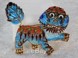 Vtg Chinese Gilt Enamel Filigree Sterling Silver Coral Foo Fu Dog Brooch Pin