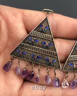 Vtg Chinese Gilt Silver Multi Color Enamel Butterfly Amethyst Dangle Earrings