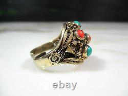 Vtg Chinese Gold Washed Cannetille Sterling Silver Coral Turquoise Ring Size 6.5