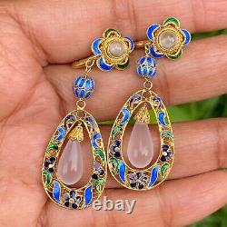 Vtg Chinese Gold gilded Silver Enamel Quartz Dangle Drop Earrings