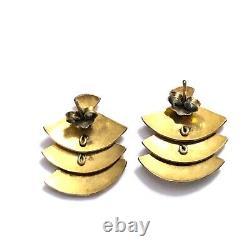 Vtg Chinese SILVER Gold Wash Sterling Enamel Cloisonne Articulated Fan Earrings