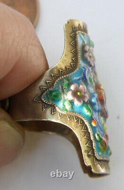 Vtg Chinese Silver Enamel Cloisonne Gold Wash Bird Flower adjustable Ring