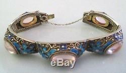 Vtg Chinese Silver Filigree Gold Gilt Enamel Flowers & Quartz Cabochon Bracelet