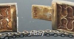 Vtg Chinese Sterling Vermeil Filigree Amethyst Cabochon Enamel Bangle Bracelet