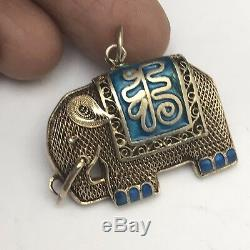 Vtg Gold Gilt Silver Chinese Filigree cloisonne enamel Elephant Pendant