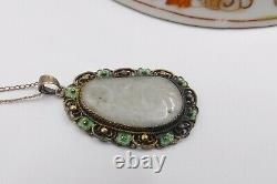 Vtg gold filled chain & antique Chinese sterling silver filigree with carved jad