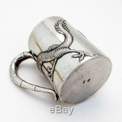 Wang Hing Dragon Cup Gilt Interior Chinese Export Silver 1900 Mono