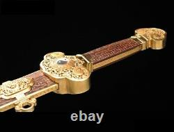 YinYang RuYi Sword pattern steel Sharp Fittings gold-plated w Inlay silver #027
