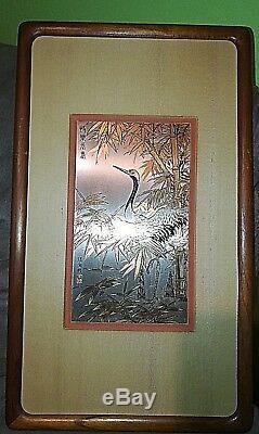 Zhang Shou-cheng Genuine 24kt Gold, Silver & Copper Chinese Crane Etching Coa