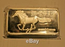 10 Bar Oz. 999 Fin. Barres Silver Bullion 2014 Cheval Année Chinoise Du Cheval